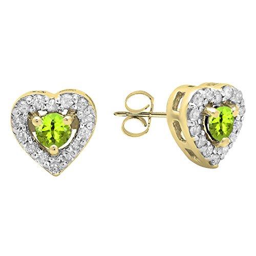 Dazzlingrock Collection 10K 3 MM Each Round Peridot Diamond & White Diamond Ladies Heart Shaped Stud Earrings, Yellow Gold