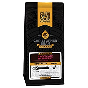 Christopher Bean Coffee Flavored Whole Bean Coffee, Chocolate Raspberry, 12 Ounce