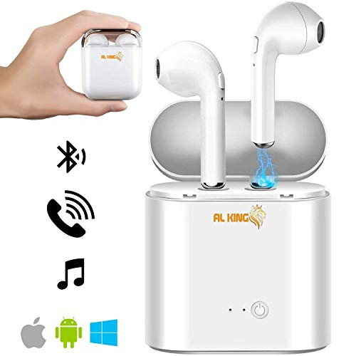 Price comparison product image Wireless Erbuds, ALKING Bluetooth Earbud with Microphone Sports Earphone Stereo Ear in-Ear Headphone for iPhone, Android/iPad,SamsunS7 S8 S9 Plus (Noise Cancelling and Charging Case) (White)