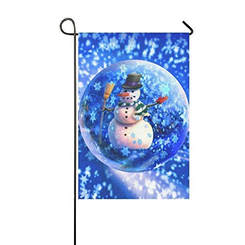 Dozili Garden Flag Winter Frosty The Blue Snowglobe Home Decoration Weather Resistant & Double Sided Flag 12.5