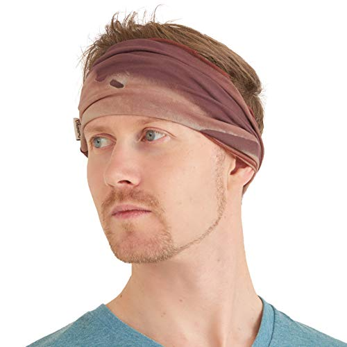 (Casualbox Mens Elastic Headband Tie Dye Japanese Boho Bandana Hair Band Hippie Marble Orange )