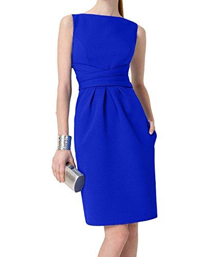 Etui Charmant Einfach Royal Abendkleider Blau Knielang Royal Partykleider Brautmutterkleider Damen Blau Satin 2 UqUzg