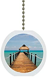 Carolina Hardware and Decor 2260F Beach Boardwalk Ocean Solid Ceramic Fan Pull