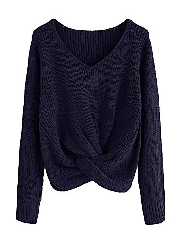 Milumia Long Sleeves Criss Cross Loose Fitting Batwing Style Fall Lightweight Sweater V Neck Shirts by Milumia