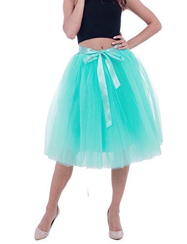 Women's High Waist Princess A Line Midi/ Knee Length Tutu Tulle Skirt for Prom Party Mint Green