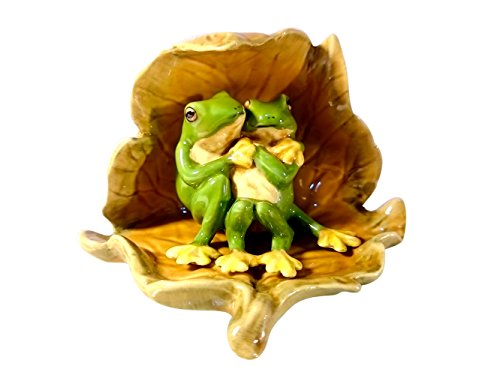 Homemade Frog Costumes For Toddler (Sansukjai Sweetheart Frogs in The Leaf Figurines Ceramic Hand Painted Animals Collectible Gift Home Decorate)
