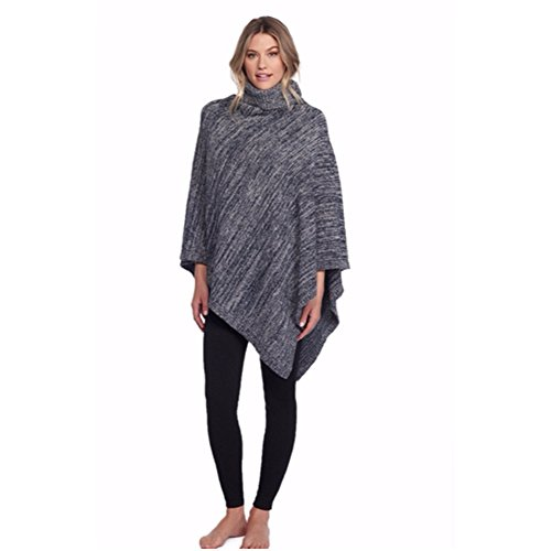 Barefoot Dreams Cozychic Point Dume Poncho (Indigo/Dove Gray) by Barefoot Dreams