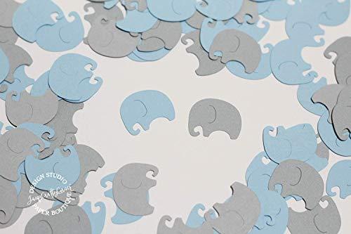 Elephant Confetti - Baby Elephants Table Confetti | 100 pcs | Light Blue and Gray Baby Shower Decoration