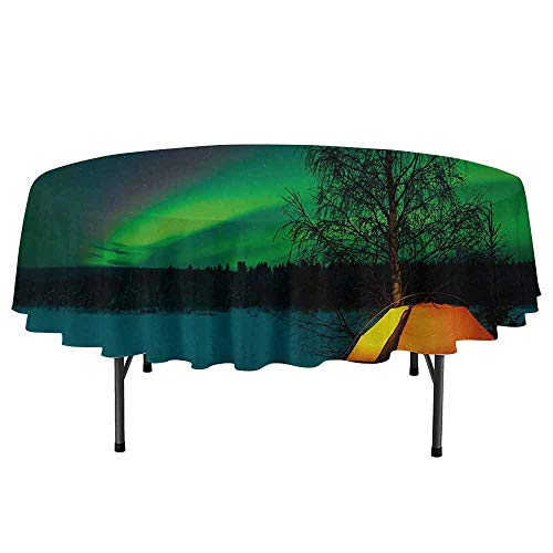 DouglasHill Northern Lights Washable Round Tablecloth Camping Tent Under Magnetic Field Nature Picture Dinner Picnic Home Decor D55 Inch Lime Green Dark Blue Earth Yellow
