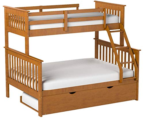 Twin over Full Mission Bunk Bed--Fixed Ladder--Honey with Trundle