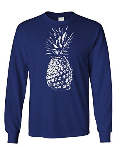 The Goozler - Huge Old Pineapple - Express Food Fruit - Long Sleeved Tee, M, Navy ()