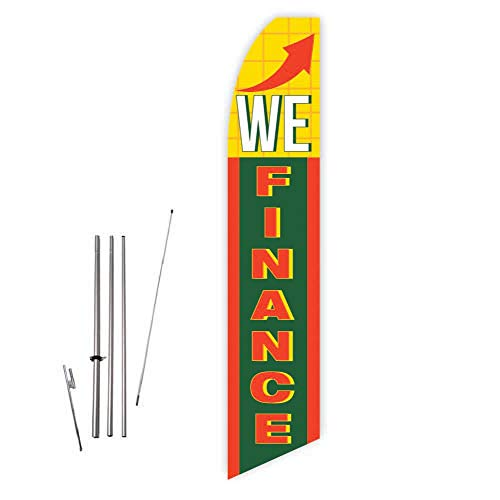 We Finance (Green/Yellow) Super Novo Feather Flag - Complete with 15ft Pole Set and Ground Spike