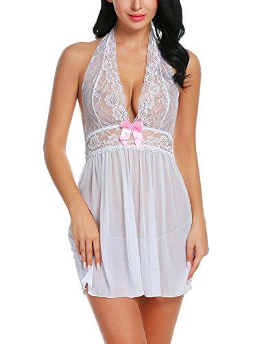 YEEZOMI Women Lace Babydoll Sexy Lingerie Dress Halter Chemise Sleepweear (3XL-Large, ()
