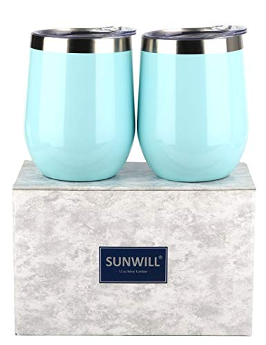 SUNWILL Insulated Wine Tumbler with Lid Pearl Blue 2 pack, Double Wall Stainless Steel Stemless Insulated Wine Glass 12oz, Durable Insulated Coffee Mug, for Champaign, Cocktail, Beer, Office