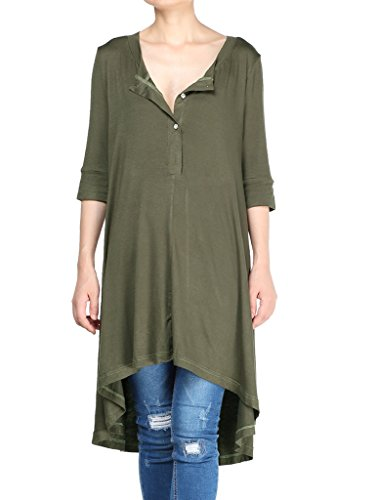 (Mordenmiss Women's New Half Sleeve High Low Loose Tunic Tops Army Green-M)