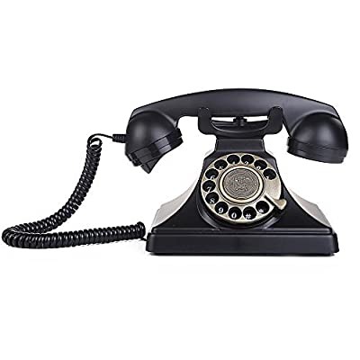 LNC Black Classic Style Rotary Dial Desk Telephone Set Home and Office Decor