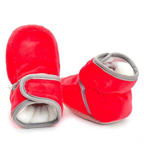 Clode® Neugeborenes Säuglingsbaby Mädchen feste Krippe schuhe Weiche alleinige rutschfeste Aufladung Rot