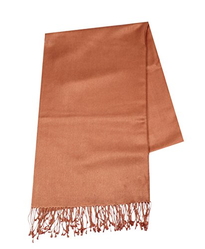 Cashmere and Silk Blend Warm and Rich New Fabric 2018 Large Pashmina Shawl Wraps Scarf 36''x80'' Peach by AOKA