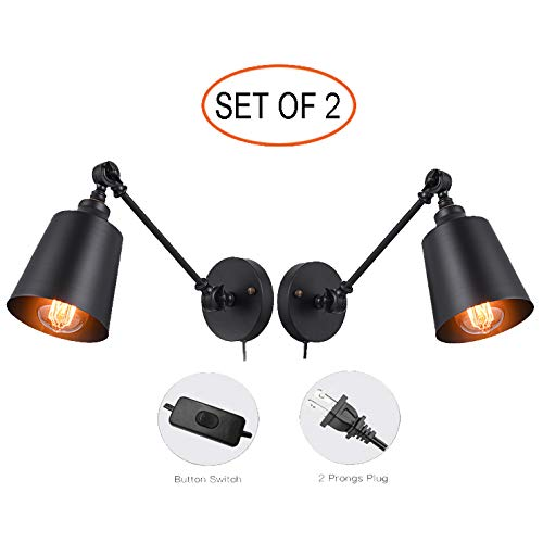 Plug in Wall Sconces, Swing Arm Wall Lamp Fixture, HOXIYA Adjustable Wall Light Fixture is Black Metal Wall Sconces for Bedroom Living Room Kitchen Dining Room (Set of 2)