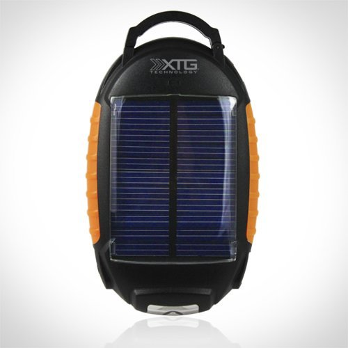 XTG Solar Charger, Compact Solar Powered Battery Pack (1800mAh, .5A output) with Flashlight &amp
