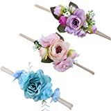 Baby Girl Floral Headbands Set - 3pcs Flower Crown Newborn Toddler Hair Accessories
