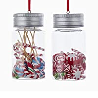 The Bridge Collection Glass Jars Filled with Peppermint Candies Ornaments, Set of 2 Assorted