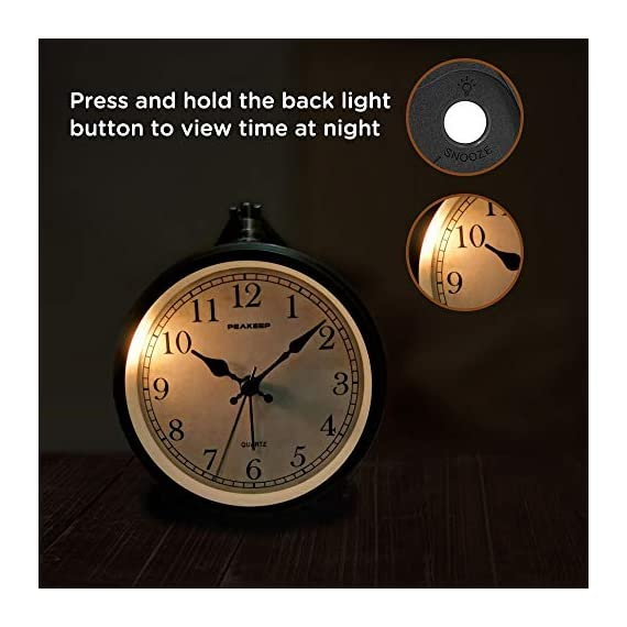 """Peakeep 4"""" Battery Operated Antique Retro Analog Alarm Clock, Small Silent Bedside Desk Gift Clock - This vintage retro alarm clock is 4 inches in diameter, metal frame antique design will add funky retro decorative feel to your bedroom, bedside, bookcase, TV table, fireplace mantle etc. Quartz analog clock offers a very silent non-ticking movement and accurate time. This bedside alarm clock has a beep noise that starts out at one pace and progressively get faster and louder in 4 stages. A big alarm switch ensures you turn the alarm on/off easily. - clocks, bedroom-decor, bedroom - 41HFopv R9L. SS570  -"""