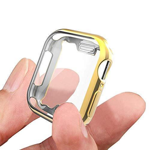 KTcpt Case for Apple Watch Series 4 Screen Protector 40mm, iWatch TPU All-Around Protective Case High Defination Clear Ultra-Thin Cover for Apple Watch Series 4 Smartwatch (Gold, 40MM)