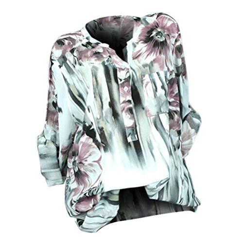 V Shirt Soie Imprimer Size Shirt Femmes Mousseline Manches T De Longues Chemisier Tops Plus Neck Button Innerternet Blanc Blouse qFH8gw