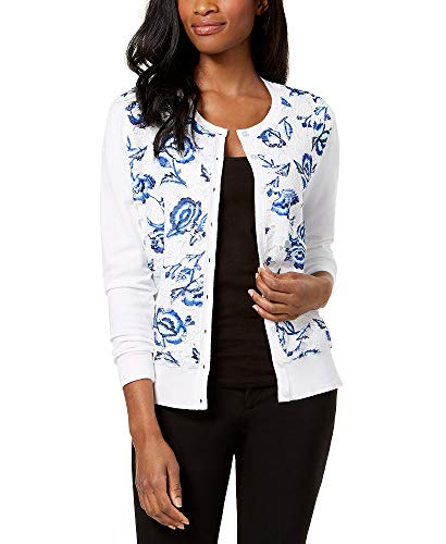 - Charter Club Printed-Lace Cardigan (Bright White, L)