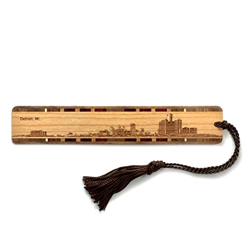 Engraved Wooden Bookmark - Detroit Michigan Skyline with Tassel - Search B076XBYB9K to See Personalized Version.