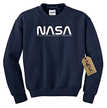 NuffSaid NASA Font Logo Crewneck Sweatshirt Sweater Pullover - Unisex Crew at Amazon Men's ...