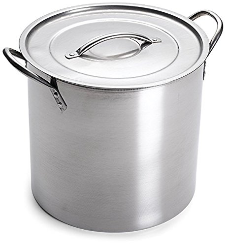 - 5 Gallon Stainless Steel Stock Pot with Lid, 12.5 x 12.5 x 11.5