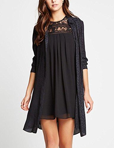 Dohia Women's Sleeveless Lace Patchwork Loose Casual Mini Chiffon Dress C1611 (M, Black)