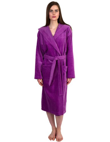TowelSelections Women's Robe, Hooded Terry Velour Cotton Bathrobe Large/X-Large Iris Orchid