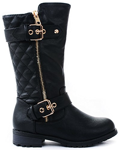 lack Dual Buckle/Zipper Quilted Mid Calf Motorcycle Boots-3 ()