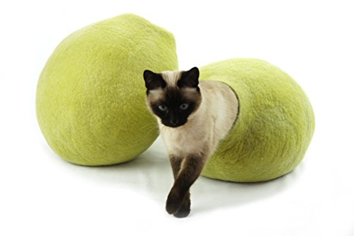 Kivikis-Cat-Bed-House-Cave-Nap-Cocoon-Igloo-100-Handmade-from-Sheep-Wool-XL-17-26-pounds-cat-Birch-Green