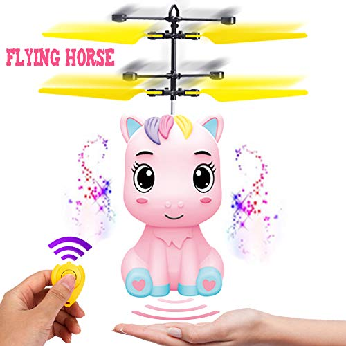 New Flying Unicorn Flying Horse Flying Ball RC Toys Drone Helicopter Hand Controlled Inductive with Remote Control Light Up Flying Fairy Toy USB Rechargeable Girls Boys Kids Unicorn Party Favors Gifts - New Horse Flying