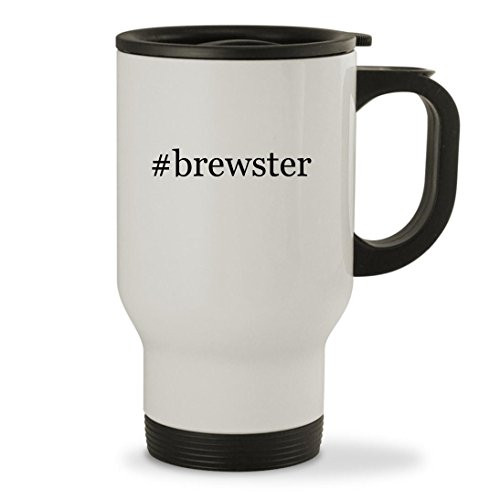 #brewster - 14oz Hashtag Sturdy Stainless Steel Travel Mug, White