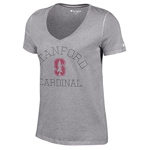 Champion NCAA Stanford Cardinal Women's University Short sleeve V-Neck T-Shirt, X-Large, Gray