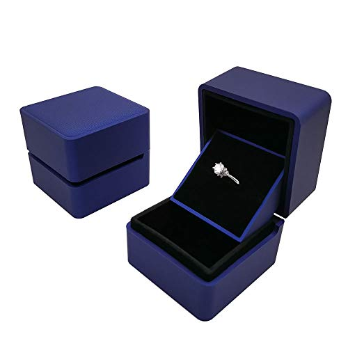 Bearda 3D Center Ring Box - Blue Premium Rubber Cover Velvet Liner Jewelry Gift Case Unique Auto Raised Display Slot for Single, Double Ring, Earring Storage for Wedding, Proposal, Engagement