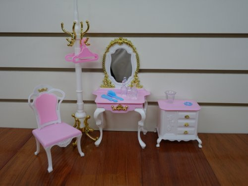 Barbie Size Dollhouse Furniture- Gloria Pretty Set with Mirror Table & Pole Hanger