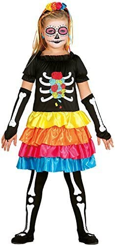 Skeleton Girls Costume Halloween Childrens Outfit Day of the Dead 4-12 Years