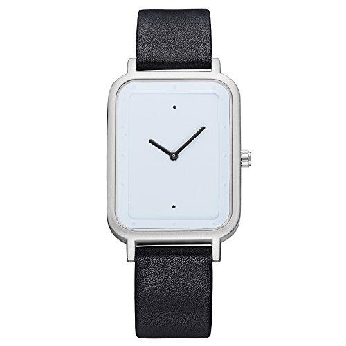 (TOMI Men's Quartz Watch, Casual Fashion Rectangular Dial Analog Wrist Watch Classic Minimalist PU Leather Watches for Mens Wrist Watch (Black Band-Sliver)
