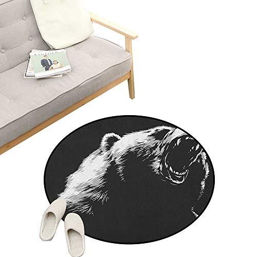 (Bear Round Carpet ,Sketch Line Art Style Roaring Carnivore Fur and Fangs Aggressive Predator Fauna, Kids Room Bedroom Bedside Rug 47