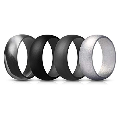 Cheap ThunderFit Mens Silicone Rings Wedding Bands – 4 Pack (Camo Grey, Dark Grey, Black, Silver, 9.5-10 (19.8mm))