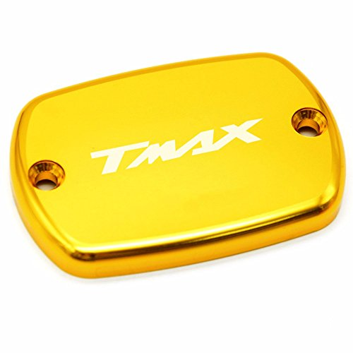 1X Motorcycle Brake Fluid Fuel Reservoir Tank Cap Cover For YAMAHA T-Max 500 TMax 530 Aluminum Motorbike Cover for Yamaha T-MAX530 2012-2016 T-MAX500 2008-2011 (Gold)