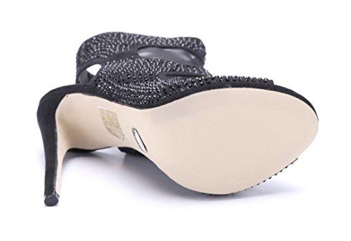 Schuhtempel24 Damen Schuhe Sandaletten Sandalen Stiletto Ziersteine 13 cm High Heels Schwarz