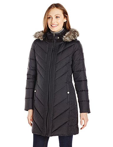 Larry Levine Women's Long Sleeve Down Coat with Side Tabs...