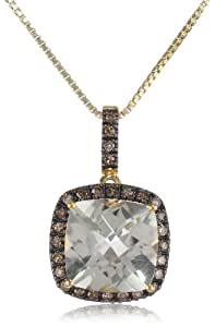 """Sterling Silver with Yellow Gold Plated Green Amethyst and Champagne Diamond Cushion Pendant Necklace, 18"""""""